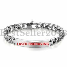 Polished Mens Stainless Steel PERSONALIZED ID Curb Chain Bangle Bracelet 8.3""