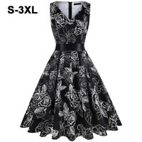 Women's Vintage V-neck 50s Retro Rockabilly Floral Print Swing Party Black Dress