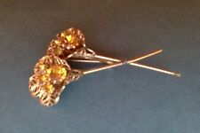 ESTATE VINTAGE HIGH END TOPAZ CRYSTAL FLOWER PIN GOLD TONE SMALL PIN