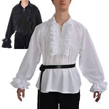 Rüschenhemd - Mittelalter Piratenhemd - Schnürhemd Baumwolle - Karneval - Gothic
