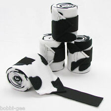BLACK & WHITE COW PRINT - FLEECE POLO LEG WRAPS – HORSE SIZE