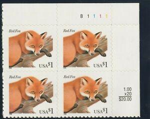 3036. $1 Red Fox Plate Block of Four Stamps Mint NH - Stuart Katz