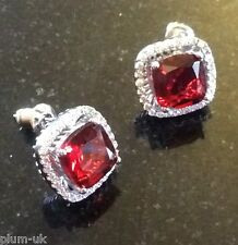 MS Square Red garnets & diamantes silver white gold gf studs BOXED Plum UK