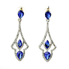Ohrringe Stecker Silber Anhänger Tropf art deco blau vintage XX 10