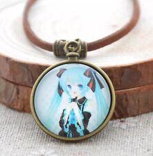 """Hatsune Miku Vocaloid Leather Necklace Pendant 1"""" US Seller"""