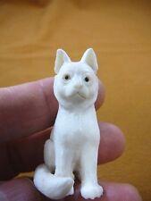 CAT-5) white sitting Kitty Cat kitten shed ANTLER figurine Bali detailed carving