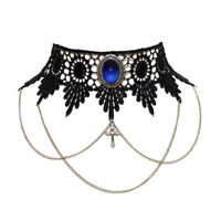 Sapphire blue gothic choker necklace lace victorian steampunk chains cross