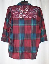 NEW WOMENS PLUS SIZE 3X BURGUNDY RED PLAID BUTTON UP DOWN SHIRT TOP W LACE BACK