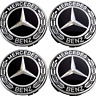 4 X 75mm Mercedes Benz Alloy Wheel Centre Caps Black Badges AMG A B C E S Class