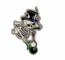Cigar Smoking Skeleton Billiards 8 Eight Ball Pool Hall Iron On Applique Patch