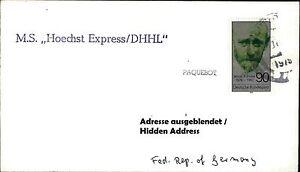 PAQUEBOT kleiner Langstempel Schiff MS HOECHST DHHL Seepost Schiffspostbrief
