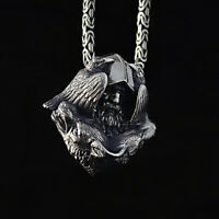 Norse Viking Stainless Steel Pendant Fashion Raven Wolf Men's Amulet Jewelry