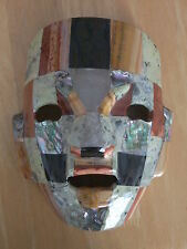 Hand Crafted Mayan/Mexican Art Mosaic Gemstone Burial Mask - Free Standing