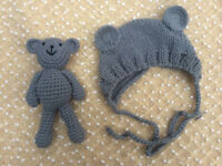 Newborn Baby Girl Boys Crochet Knit Costume Bear Hat Set Photo Photography Props