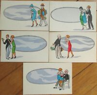 1920 Art Deco Postcards: Set of FIVE - Couples/Lovers/Old Man