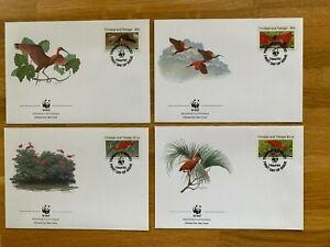 TRINIDAD & TOBAGO 1990 FDC x 4 WWF BIRDS SCARLET IBIS
