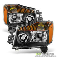 Black For 2004-2015 Titan 04-07 Armada Headlights Replacement Lamps Left+Right