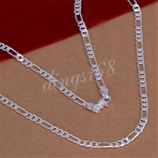 925 Sterling Silver 24 inch Shiny Italian Figaro 4mm Wide Chain Necklace E139