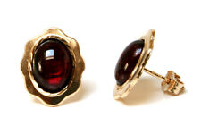 9ct Gold Garnet Oval Studs earrings Made in UK Gift Boxed