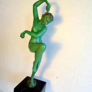 """Sculpture Max Le Verrier, """"Vendanges"""" Signed Denis , 1930s."""