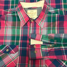 Weatherproof Vintage Shirt Mens Size Large Plaid Pink Blue Green  Button Down