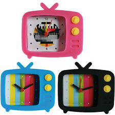 SILICONE ALARM CLOCK TV RETRO BEDROOM HOME TELEVISION ANALOG WAKE UP BEDSIDE NEW