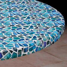 Round Elasticized Tablecloth Table Cover Sea Glass Vinyl Fitted Cover ...