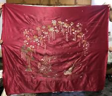 """Antique Chinese Qing Dynasty Hand Embroidery Panel Wall Hanging 53"""" By 68"""""""