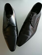 MENS M&S SIZE 11 BLACK GENUINE LEATHER LACE UP DERBY STYLE SHOES