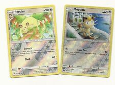 RARE PERSIAN & MEOWTH- 2 Pokemon Evolution Cards-BURNING SHADOWS-REV HOLO-MINT