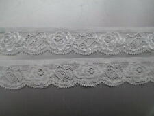 Beautiful! 5 yards of White elastic lace embroidered peony flower pattern