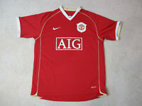 Nike Manchester United Soccer Jersey Adult Large Red White Futbol Dri Fit Mens