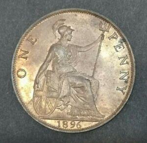 Victoria One Penny 1896 Bronze Coin *