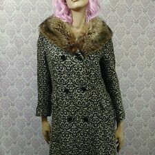 Vintage Womens Long Coat Raccoon Fur Collar Size XS/S Patterned Wool Blend