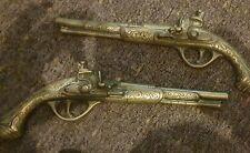 More details for 2xvintage heavy brass c12 inch wall hanging ornamental flintlock guns pistols.