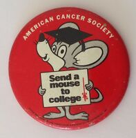 American Cancer Society College Mouse Button Badge Pin Vintage Authentic (N14)