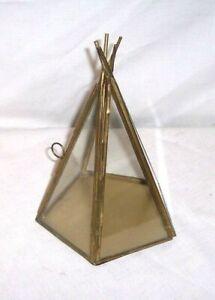 "Vintage 8"" Glass Metal MINATURE Curio Cabinet TEPEE WIGWAM 5 SIDED Display Case"