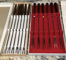 14PC FONDUE STAINLESS STEEL FORKS 6 CORONADO 8 GRASOLI W BOXES COLOR CODED FORKS