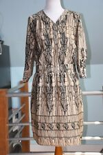 NWT Coldwater Creek 3/4 Sleeve V-Neck Career Dress - Black & Beige Print Size 10