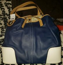 New Coach Hadley Tote Bag LeatherDuffle Shoulder  Brilliant Blue White