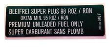 GOLF MK3 Autocollant, Premium Carburant sans plomb, Mk2 GOLF/CORRADO G60 - 030010046 F