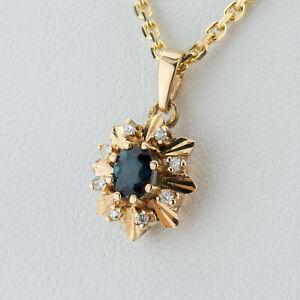 Anhänger (585er Gold) mit Saphir und Diamanten