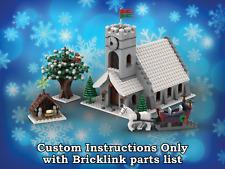 Instrucciones de Lego de invierno iglesia de pueblo sólo para ladrillos Lego (Navidad)