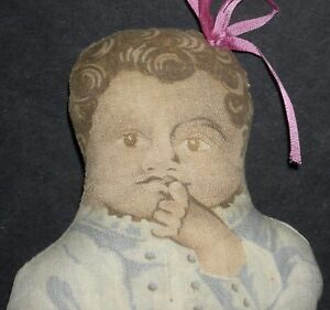 """RARE! - BROWN CLOTH BABY! - PRINTED FEATURES & LONG DRESS - 8"""" CUTE SMALL SIZE!!"""