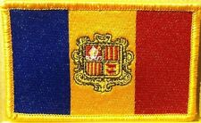 Andorra Flag Embroidered Iron-On Patch Military Emblem Gold  Border