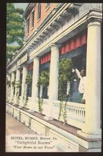 Postcard  MERCER PA Hotel Humes View 1940's ?