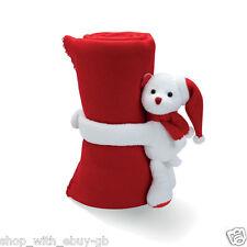 Rosso Pile Natale Coperta con Orso Polare Abbraccio Morbido Orsetto Natale Gfit
