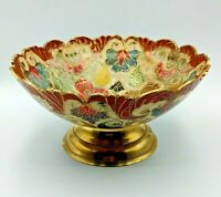 Heavy Brass Floral Hand Etched Enamelled 19.5cm Bowl Decorative Dish