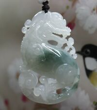 "Certified Natural ""A"" Perfect Green Icy Jadeite JADE Big Pi-Xiu Pendant 冰种貔貅"