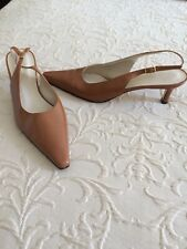 Rangoni Leather Pointed Toe Kitten Heels. Womens Size 8. Camel. Made in Italy